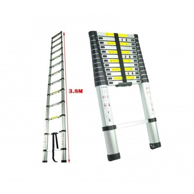 Escalera telescópica plegable de aluminio reforzado   3,80 mt.