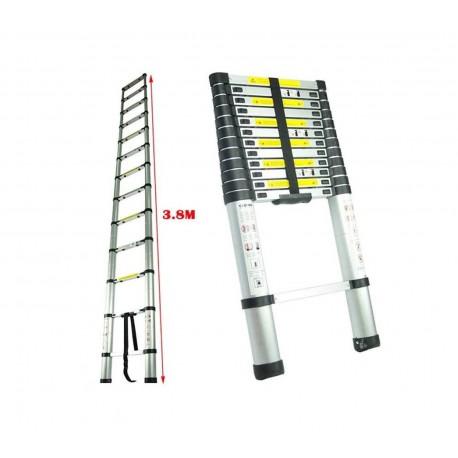 Escalera telescópica plegable de aluminio reforzado | 3,80 mt.