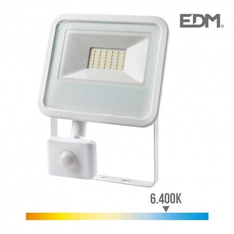Foco proyector led 30w 2100 lm 6400k luz fria con sensor de presencia edm