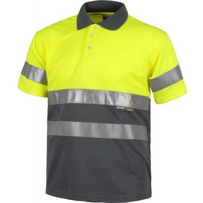 Camiseta Polo de Alta Visibilidad Colores Combinados
