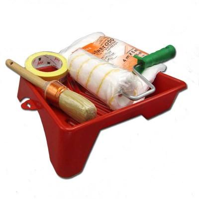 Kit Herramientas para Pintar (Cubeta 22cm + Rodillo 18cm + Brochanº8 + Cinta 19mm + Plástico cubretodo fino)