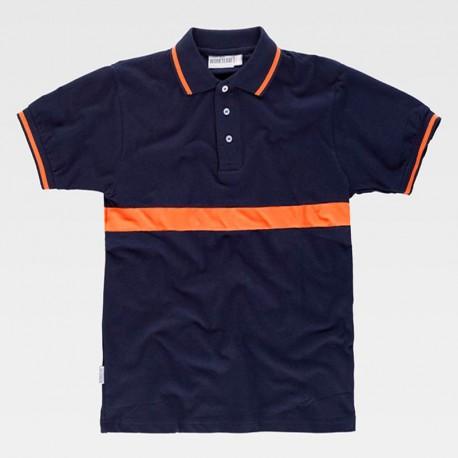 Camiseta Polo Combinado de Manga Corta de Algodón