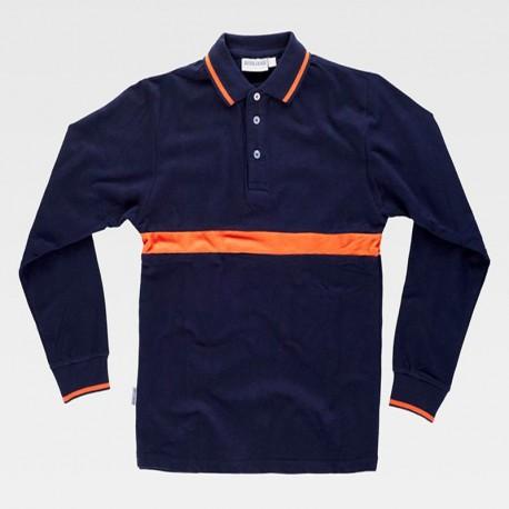 Camiseta Polo Combinado de Manga Larga de Algodón
