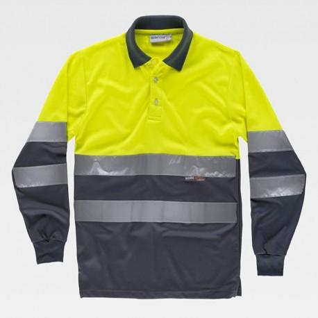 Camiseta Polo Combinado de Manga Larga con Certificado de Alta Visibilidad