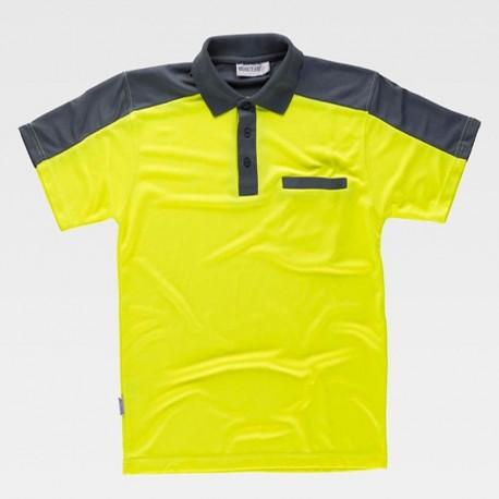 Camiseta Polo de Trabajo con Mangas a Contraste