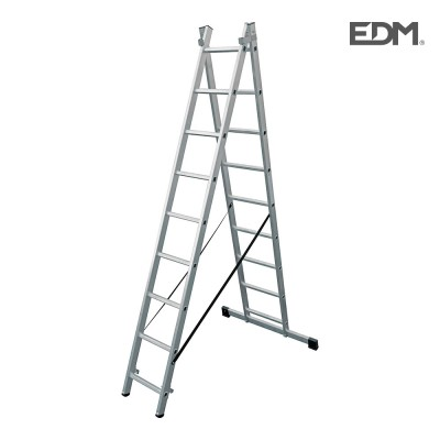 Escalera transformable aluminio 2x9 peldaños edm