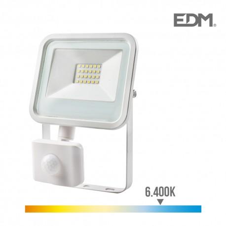 Foco proyector led 20w 1400 lm 6400k luz fria con sensor de presencia edm