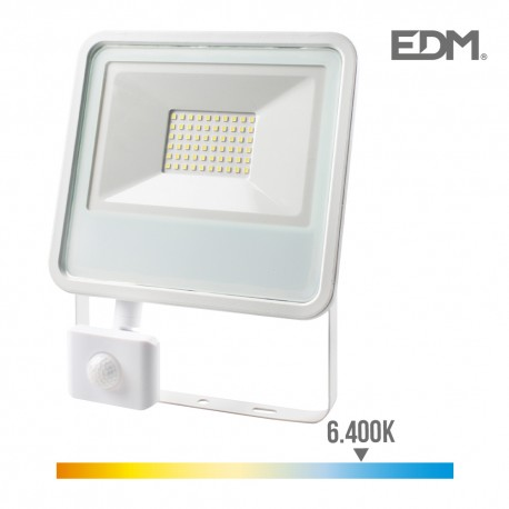 Foco proyector led 50w 3500 lm 6400k luz fria con sensor de presencia edm