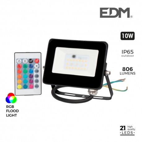 Foco proyector led rgb 10w 806 lm edm
