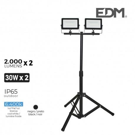 Foco proyector led con tripode 2x30w 2x2000 lm luz fria 6400k edm