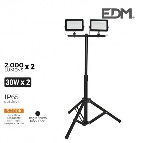 Foco proyector led con tripode 2x30w 2x2000 lm luz calida 3200k edm