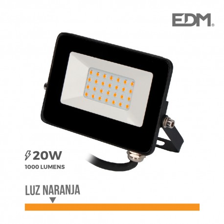 Foco proyector led 20w 1000 lm luz naranja edm