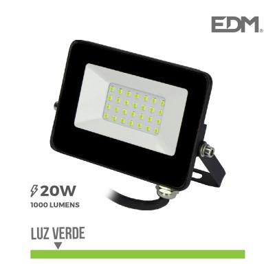 Foco proyector led 20w luz verde 1000 lúmenes EDM