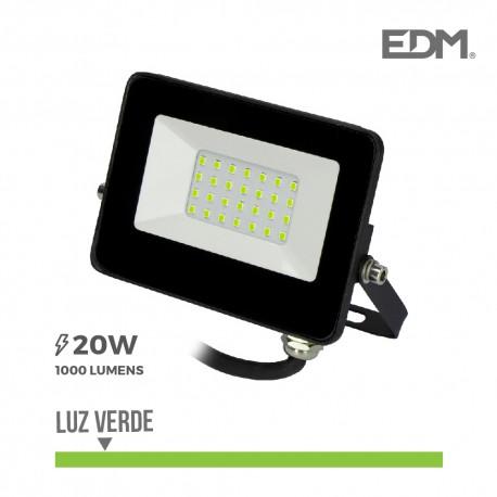 Foco proyector led 20w luz verde 1000 lm edm