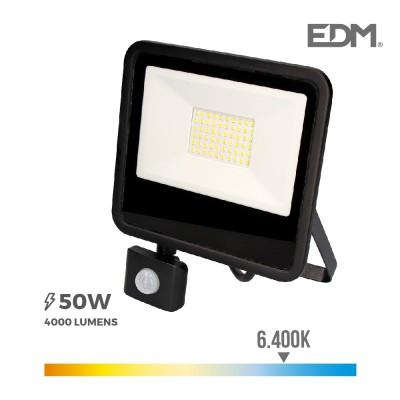 Foco proyector led 50w 4000 lúmenes 6400k luz fría con sensor de presencia EDM