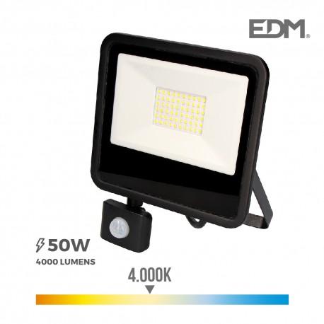Foco proyector led 50w 4000 lm 4000k luz dia con sensor de presencia edm