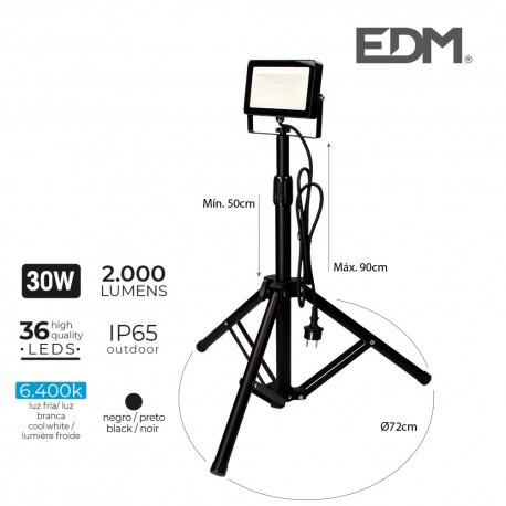 Foco proyector led con tripode 30w 2000 lúmenes de luz fría 6400k edm