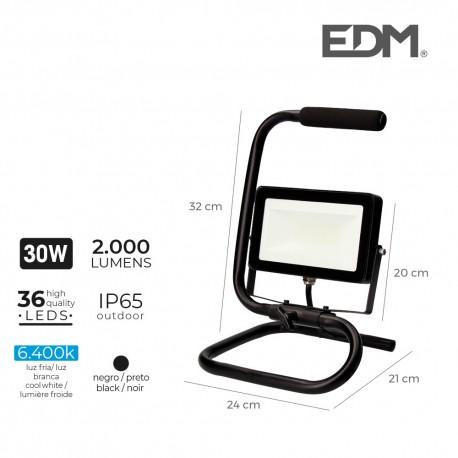 Foco proyector led con pie 30w 2000 lúmenes 6400k luz fria edm