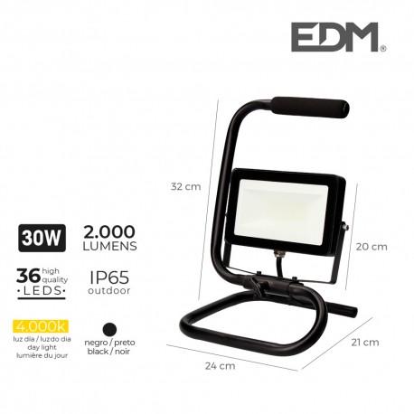 Foco proyector led con pie 30w 2000 lúmenes 4000k luz día edm