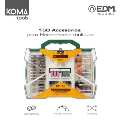 Set de 150 accesorios koma tools para mini herramienta multiusos rotativa ref: 08709 edm