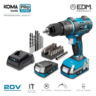 Kit taladro percutor/atornillador 20v con 2 baterias 2.0 ah y cargador koma tools pro series battery edm