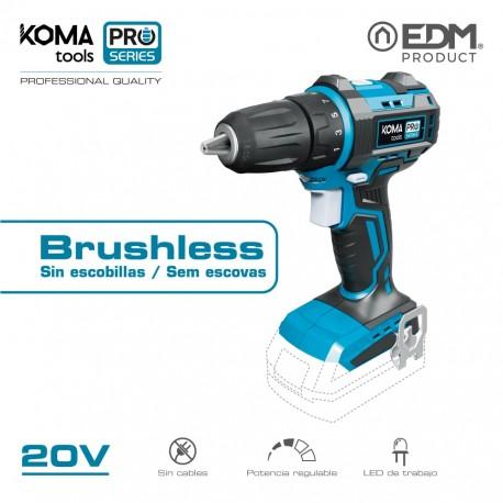 Taladro atornillador 20v brushless (sin bateria y cargador) portabrocas ø10mm koma tools pro series battery edm