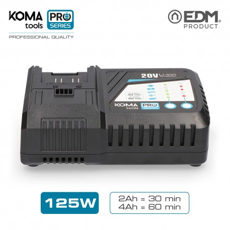 Cargador rapido bateria 125w koma tools pro series battery edm