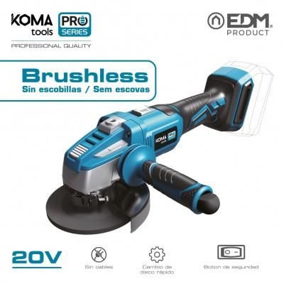 Amoladora 125mm 20v brushless (sin bateria y cargador) koma tools pro series battery edm
