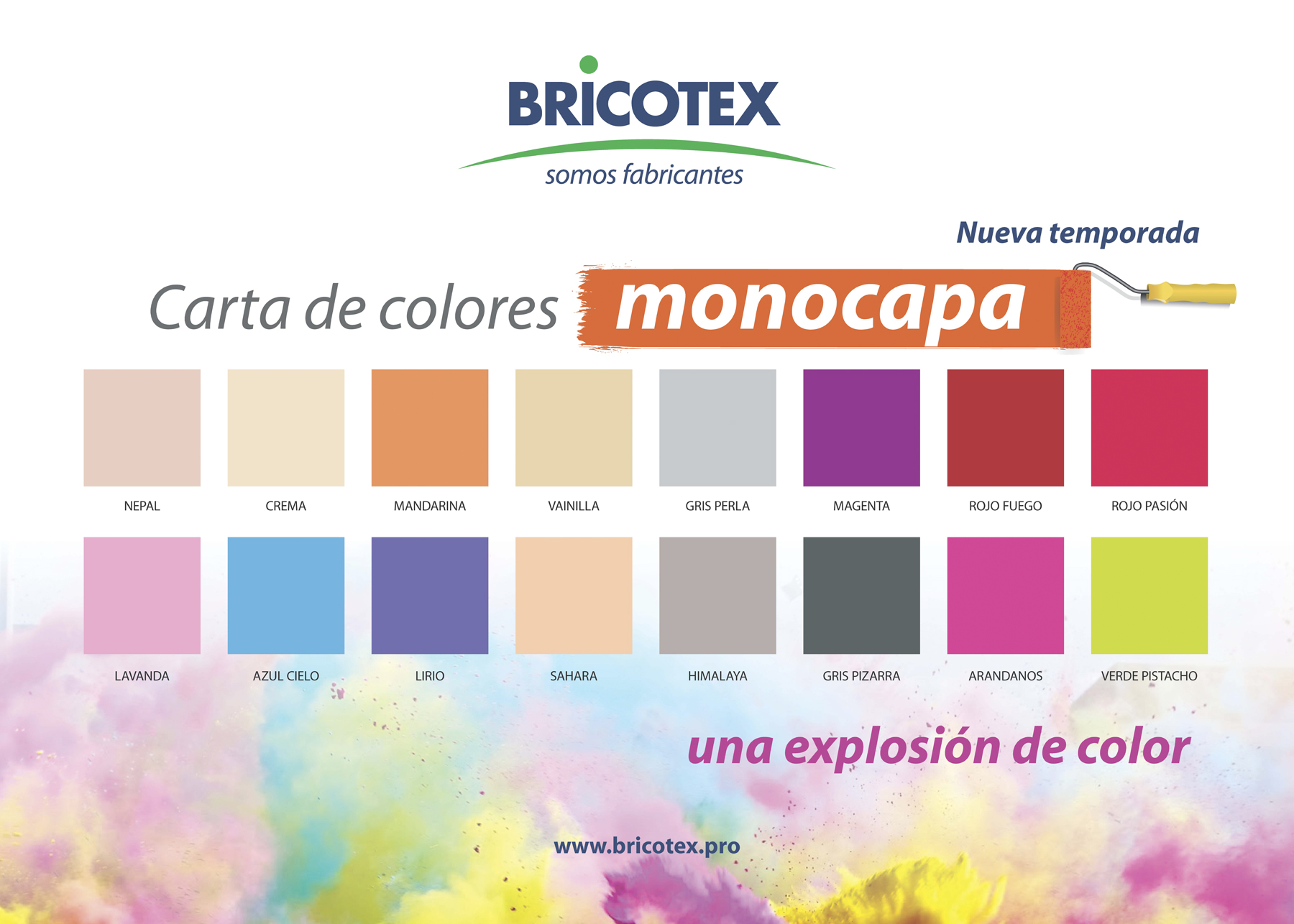 Pintura pl stica paredes y techos una capa 2 5 lt bricotex - Paleta colores pintura pared ...